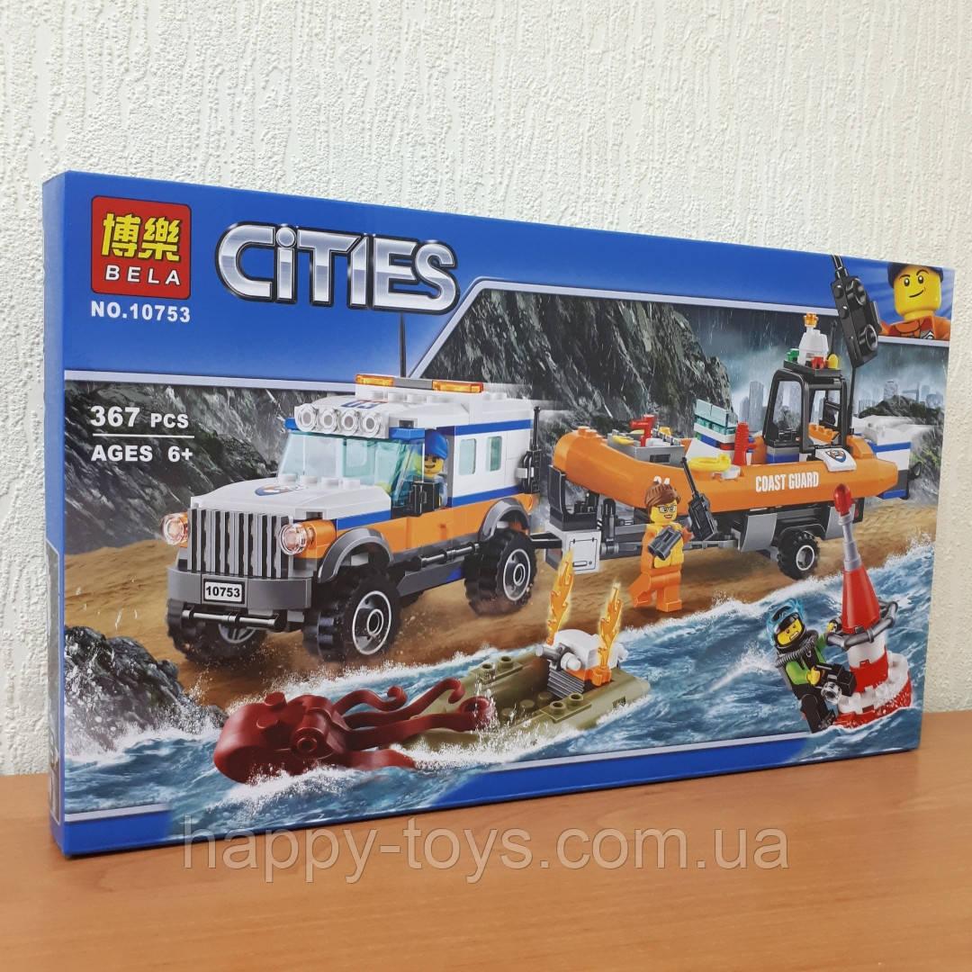 Конструктор Bela Cities 10753 Спасательный Внедорожник с катером 367 деталей