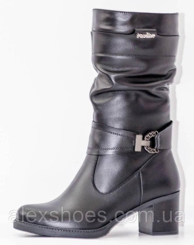 Сапоги женские зима из натуральной кожи на каблуке от производителя модель РОМ615