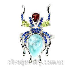 Серебряное кольцо с ЛАРИМАРОМ (натуральный!!), серебро 925 пр. Размер 17