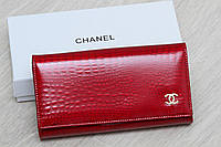 Женский кожаный кошелек темно красный с откидной визитницей