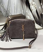 Розовая женская сумочка через плечо небольшая серо-коричневая натуральная замша+кожзам, фото 1