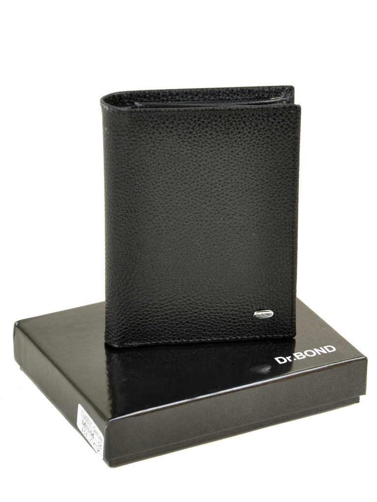 Черный кожаный мужской кошелек портмоне на магнитах DR.BOND MSM-2 black