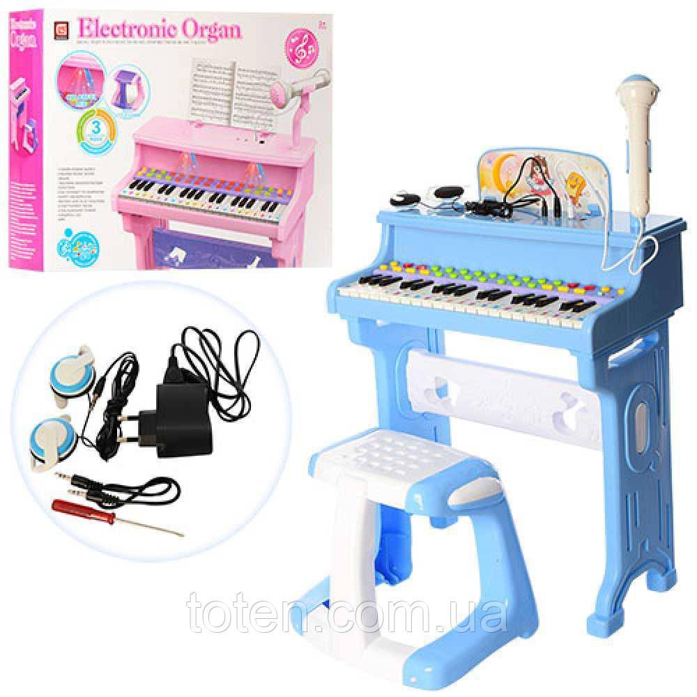 Синтезатор CV8818-206AB Піаніно і мікрофон, стільчик, від мережі, музика, MP3, USBзарядн, 2 кольори
