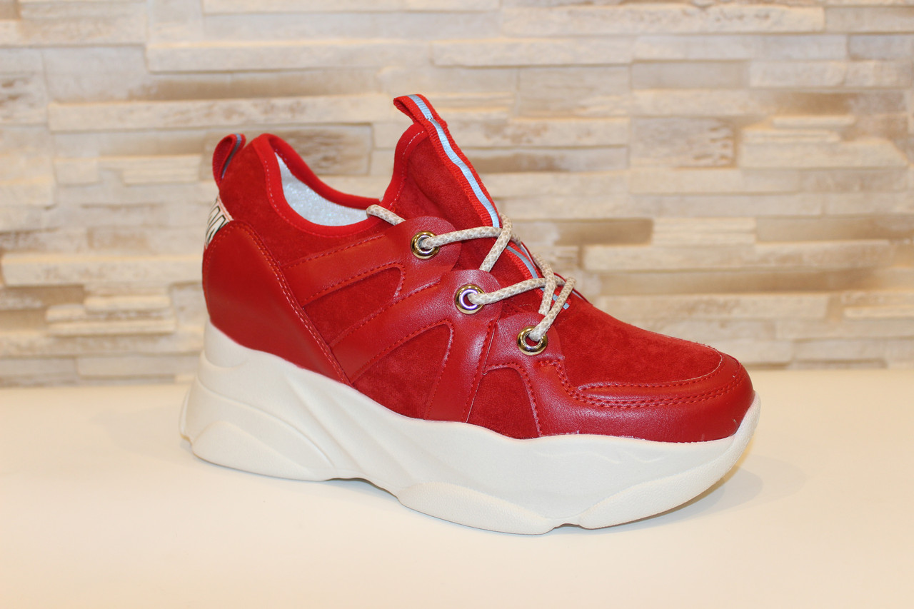Кроссовки женские красные Т1187