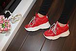 Кроссовки женские красные Т1187, фото 4