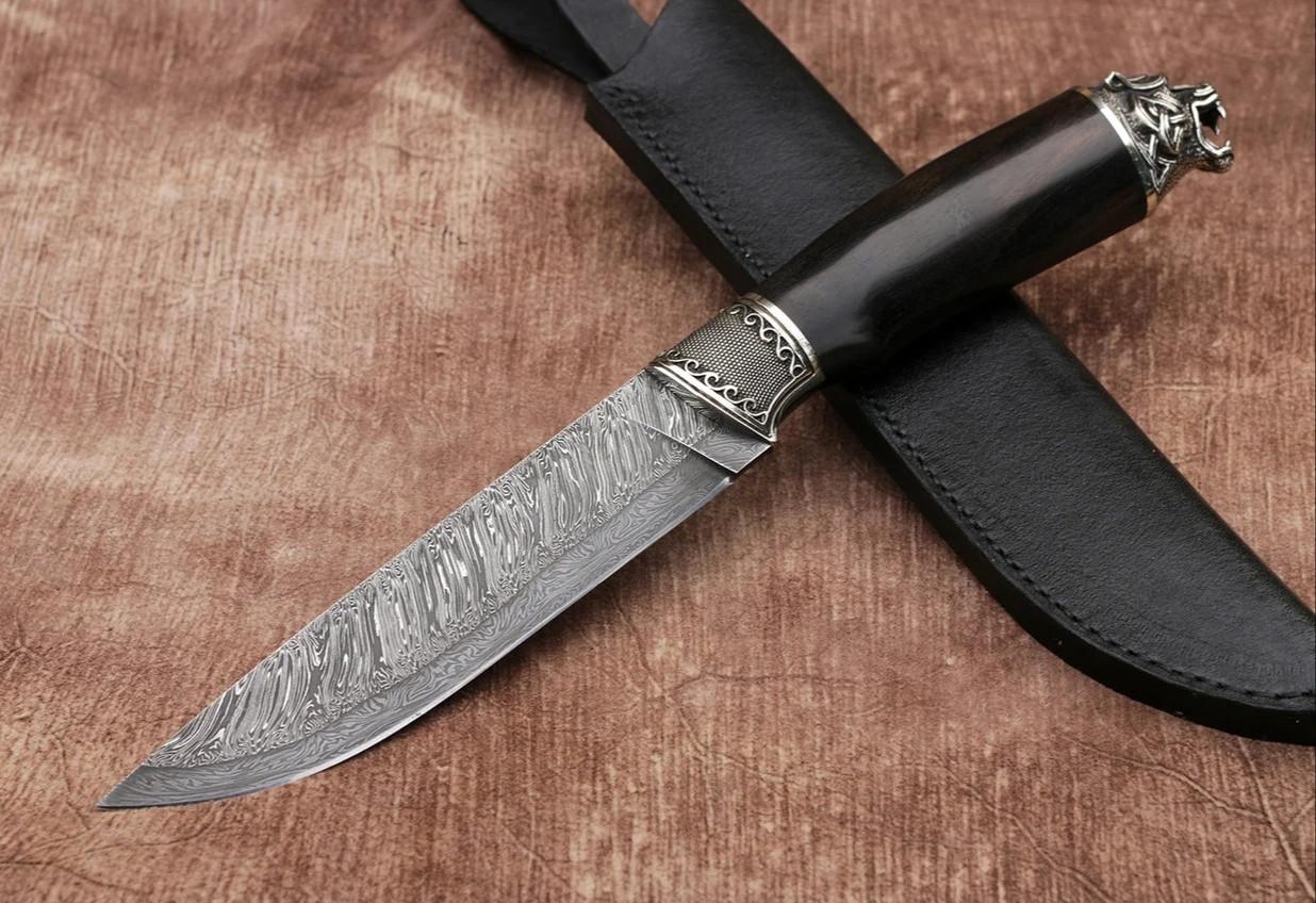 """Нож ручной работы """"Медведь"""" из дамасской стали"""