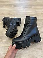 Шкіряні черевики тренд Prada Кожа ботинки прада зима