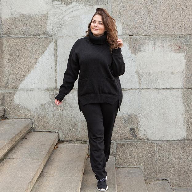 Теплый вязаный БАТАЛЬНЫЙ костюм оверсайз Черный с 42 по 62 размер
