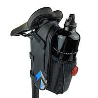 Подседельная сумка с мигалкой и подфляжником черная