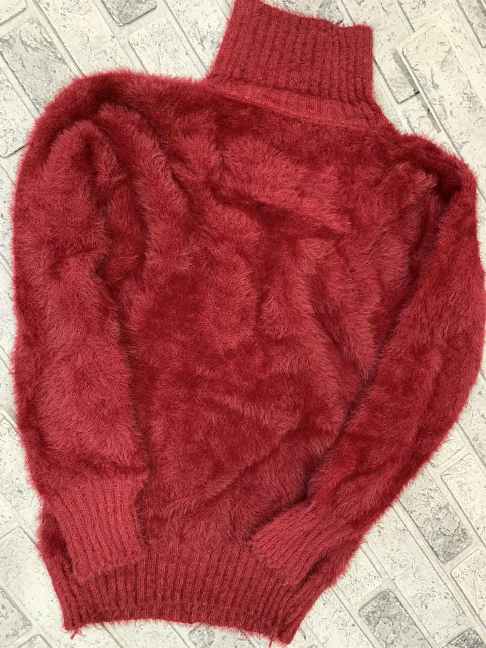 Женский пушистый свитер-гольф травка 44-48 (в расцветках)