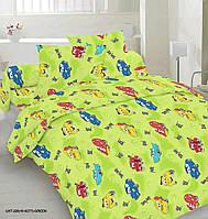 Комплект детского постельного белья отличного качества, полуторка, машинки