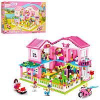 Конструктор Sluban M38-B0721 Розовая мечта, домик Вилла, мебель, фигурки, транспорт, 896 деталей