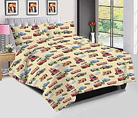 Комплект детского качественного постельного белья, полуторка, грузовики машинки