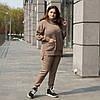 Теплый вязаный БАТАЛЬНЫЙ костюм оверсайз Серый с 42 по 62 размер, фото 5