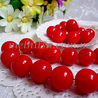 Бусины красные, глянцевые, 1,4 см (5 шт), фото 1