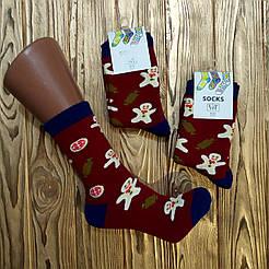 """Женские махровые носки V&T socks с рисунком """"Пряничек"""""""