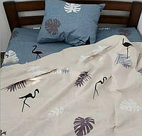 Комплект полуторного постельного белья с фламинго