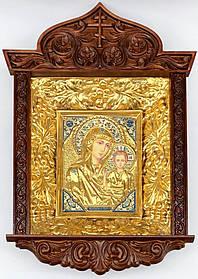 Ікона Богородиці в ризі різьбленому кіоті виноград (53х70)