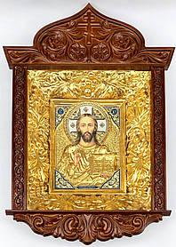 Ікона Спасителя в ризі різьбленому кіоті виноград (53х70)