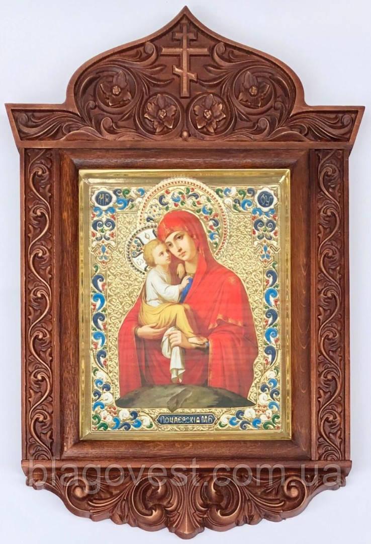 Икона Почаевская М.Б. в ризе резном киоте 2 (40х58)