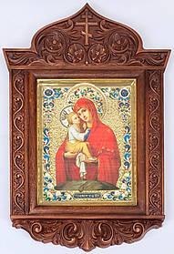 Почаївська ікона М. Б. в ризі різьбленому кіоті 2 (40х58)