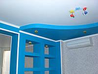 Двухуровневый натяжной потолок в детской, фото 1