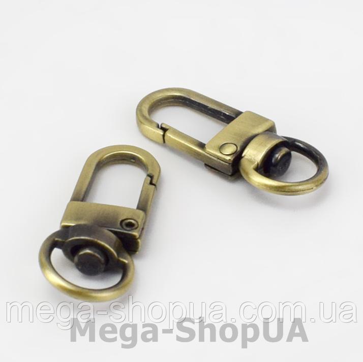 Застежка карабин металлический. Застежка-карабин для ключей. Брелок для ключей 1 штука Bronze