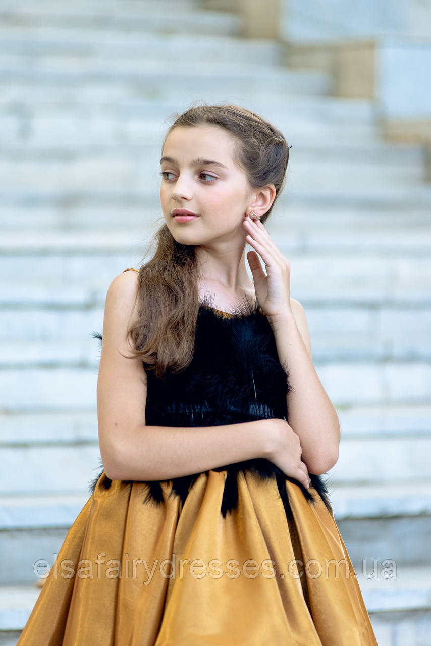 """Модель """"CINDERELLA GOLD"""" со шлейфом - дитяча сукня / детское нарядное платье"""