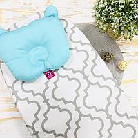 Комплект простынка на резинке + подушка в коляску Lukoshkino ® Размер 35*75 см. PRK-2
