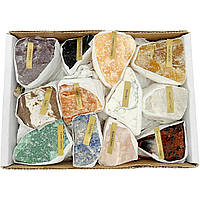 Набор природных необработанных камней с подписями