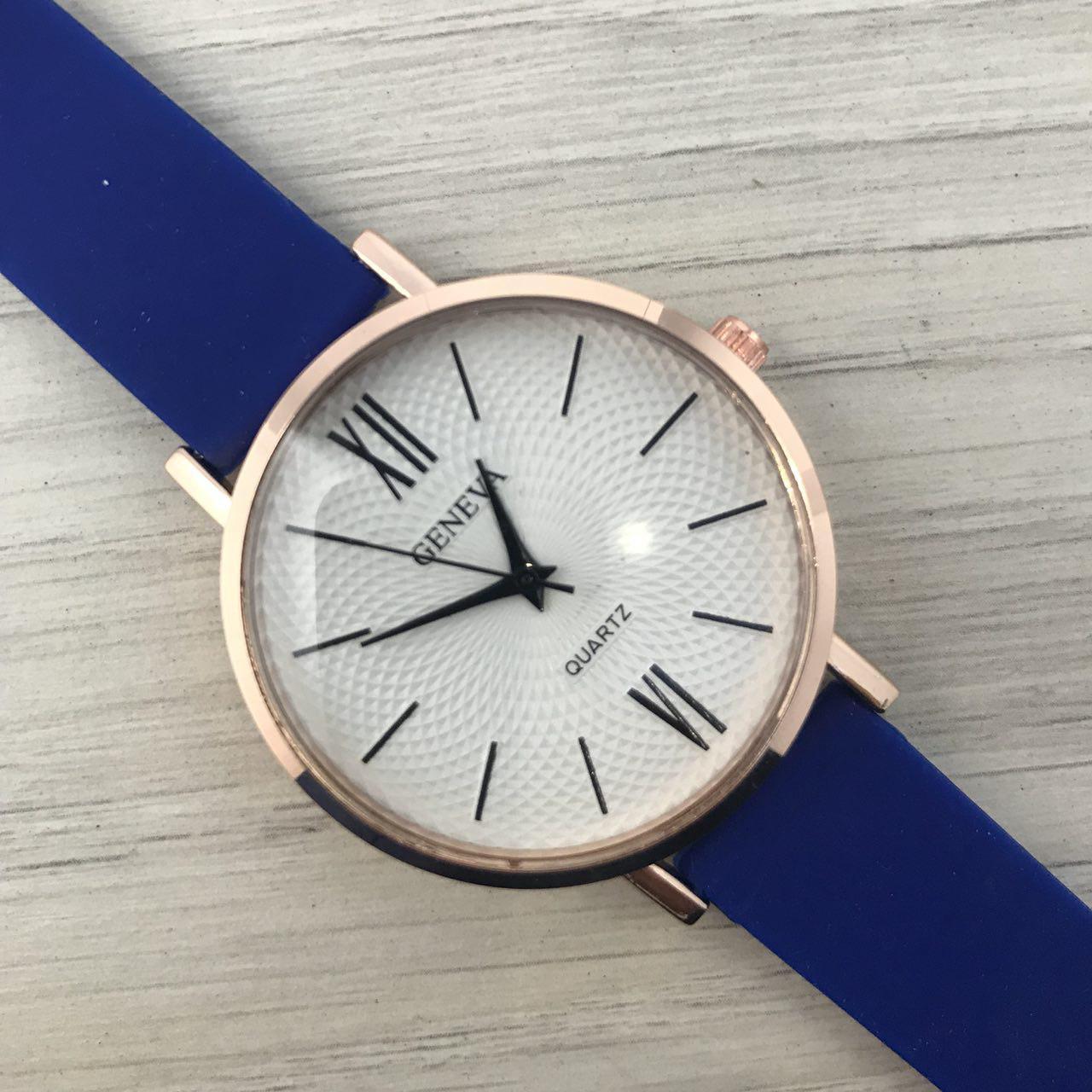 Часы женские наручные Geneva золото силикон синий ( ABR-1010-0250)