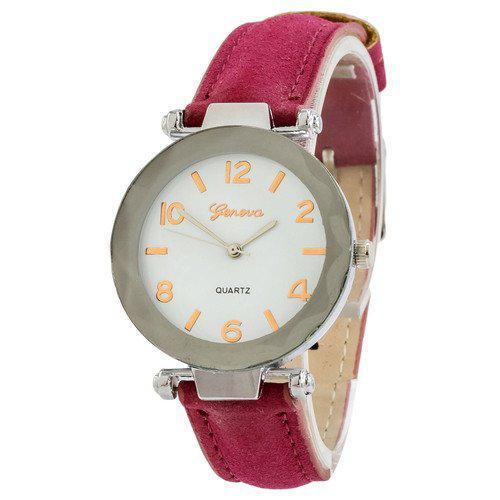 Часы женские наручные Geneva серебро кожзам бордо ( ABR-1010-0236)