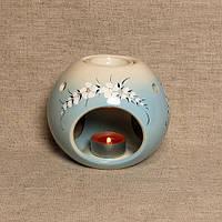 Аромалампа Шар Роспиcь Серо-бело-голубой Большие цветы / Аромолампа