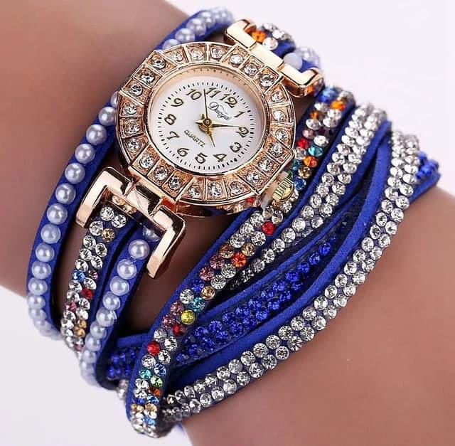Наручний жіночий годинник з синім ремінцем код 209