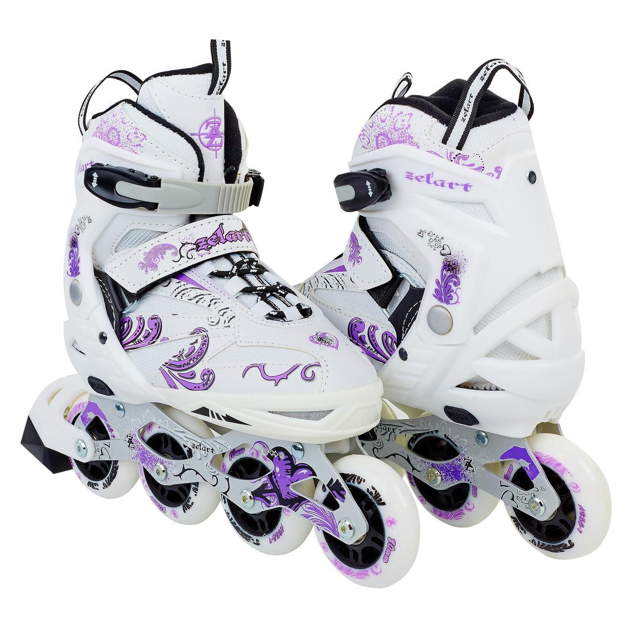 Роликовые коньки раздвижные Grace бело-фиолетовый Z-805