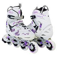 Роликовые коньки раздвижные Grace бело-фиолетовый Z-805, фото 1