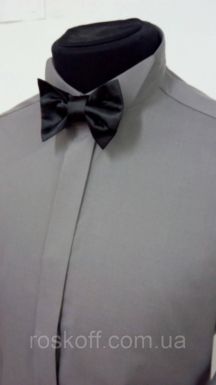 Чоловіча сорочка під метедик  темно-сірого кольору
