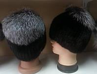Меховая шапка из норки на вязанной  основе с чернобуркой
