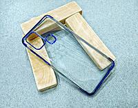 Тонкий прозрачный силиконовый чехол с синим ободком для Samsung Galaxy A21s