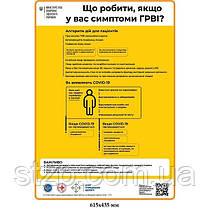 Плакат Covid19 Что делать в случае Возникновения симтомив ОРВИ желтый фон