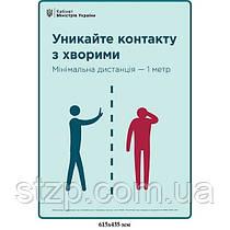 Плакат Ковид19 Избегайте контакта с заболевшими