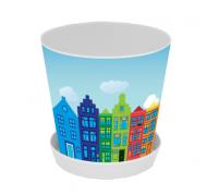 """Горщик для вазонів Алеана з підставкою """"Деко"""" 13*12,5 з декором (Амстердам) 114048"""