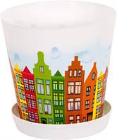 """Горщик для вазонів Алеана з підставкою """"Деко"""" 16*15,5 з декором (Амстердам) 114049"""