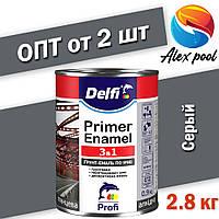 Delfi Грунт-эмаль по ржавчине 3 в 1 Cерый 2.8 кг