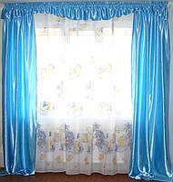 Комплект в детскую шторы и тюль, голубые, фото 1