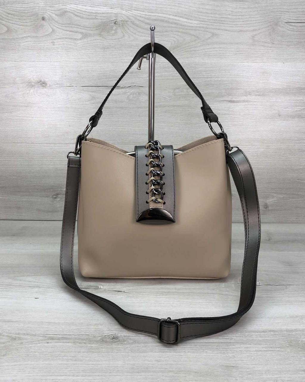 Женская сумка «Сати» бежевая