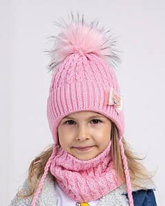 Вязаний комплект (шапка і хомут) для дівчинки оптом - Артикул 2706