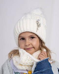 Зимовий комплект (шапка і хомут) для дівчинки оптом - Артикул 2653