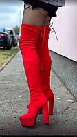Високі червоні ботфорти жіночі, фото 1