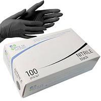 Перчатки нитриловые неопудренные POLIX promed Extra Safe плотные 100 шт Черные (ПерчаткичерныеМ)